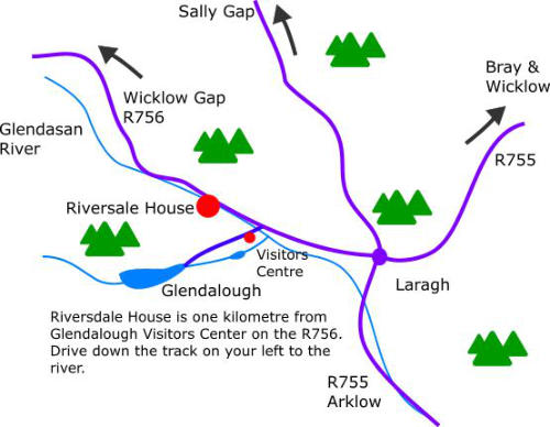 Map of Riversdale House B&B Guesthouse Walking Holidays Wicklow